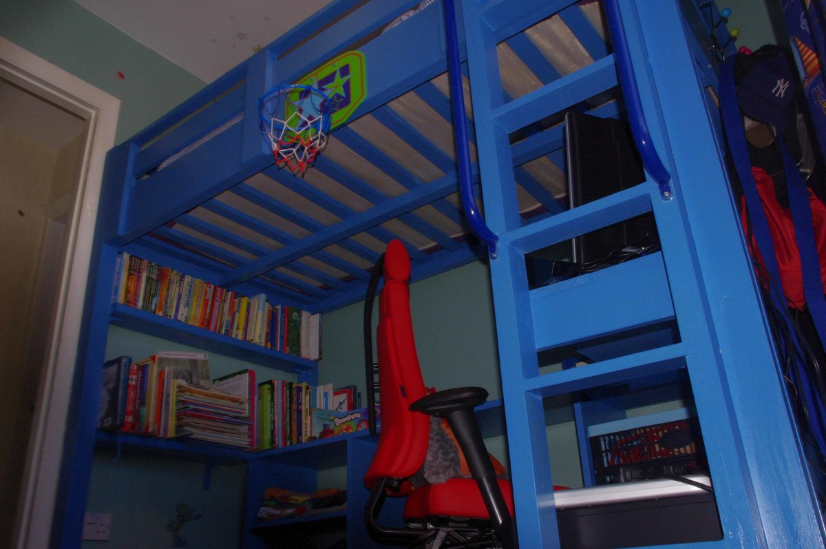 ana white blue loft bed for 8 year old diy projects. Black Bedroom Furniture Sets. Home Design Ideas