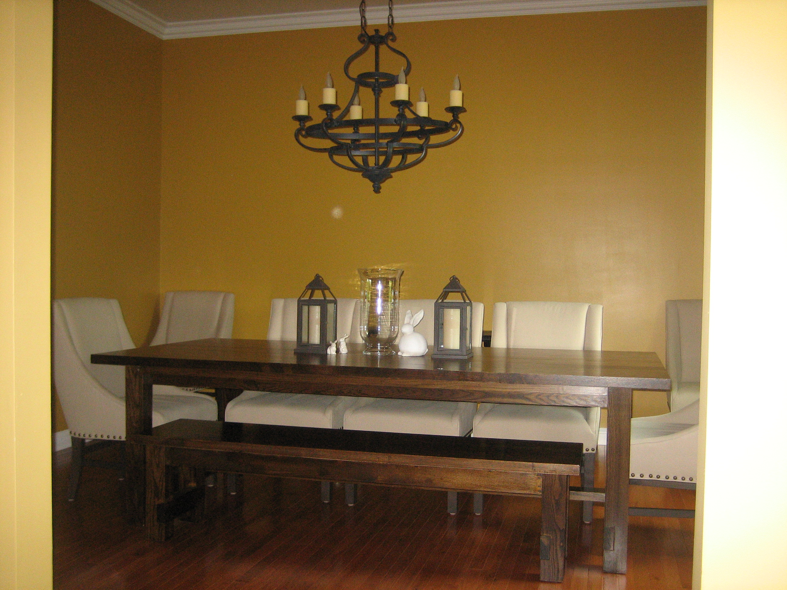 Ana white farmhouse table with bench diy projects for Ana white table bench