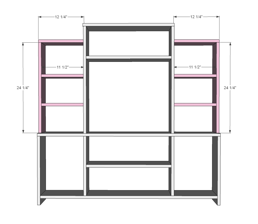 Ana white mini media wall diy projects for Media center plans