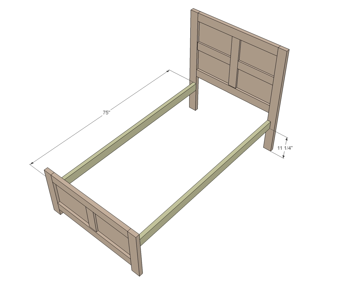 Ideal Build the footboard as you did the headboard expect we ull omit the horizontal decorative pieces