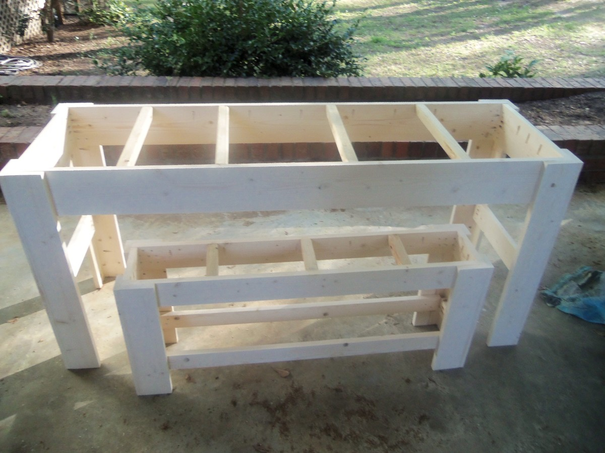 Ana white narrower farmhouse table and bench diy projects for Ana white table bench