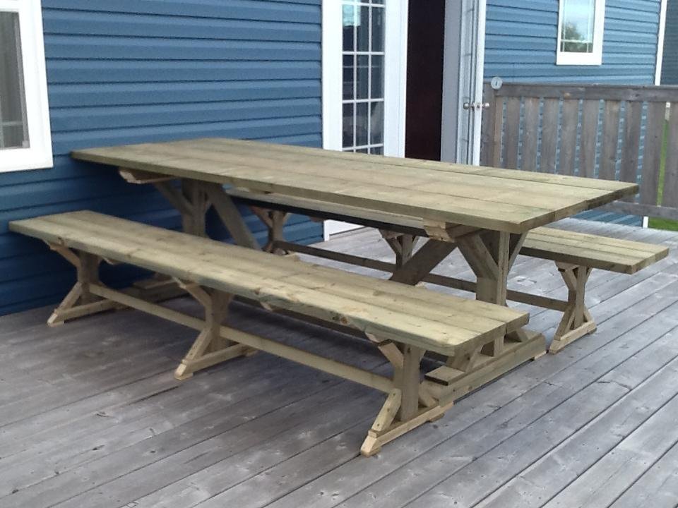 Ana white fancy farmhouse table and benches diy projects for Ana white table bench