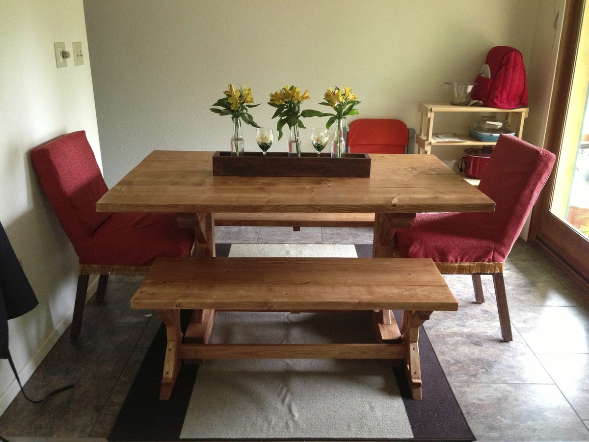 Ana white fancy x farmhouse table and benches diy projects for Ana white table bench