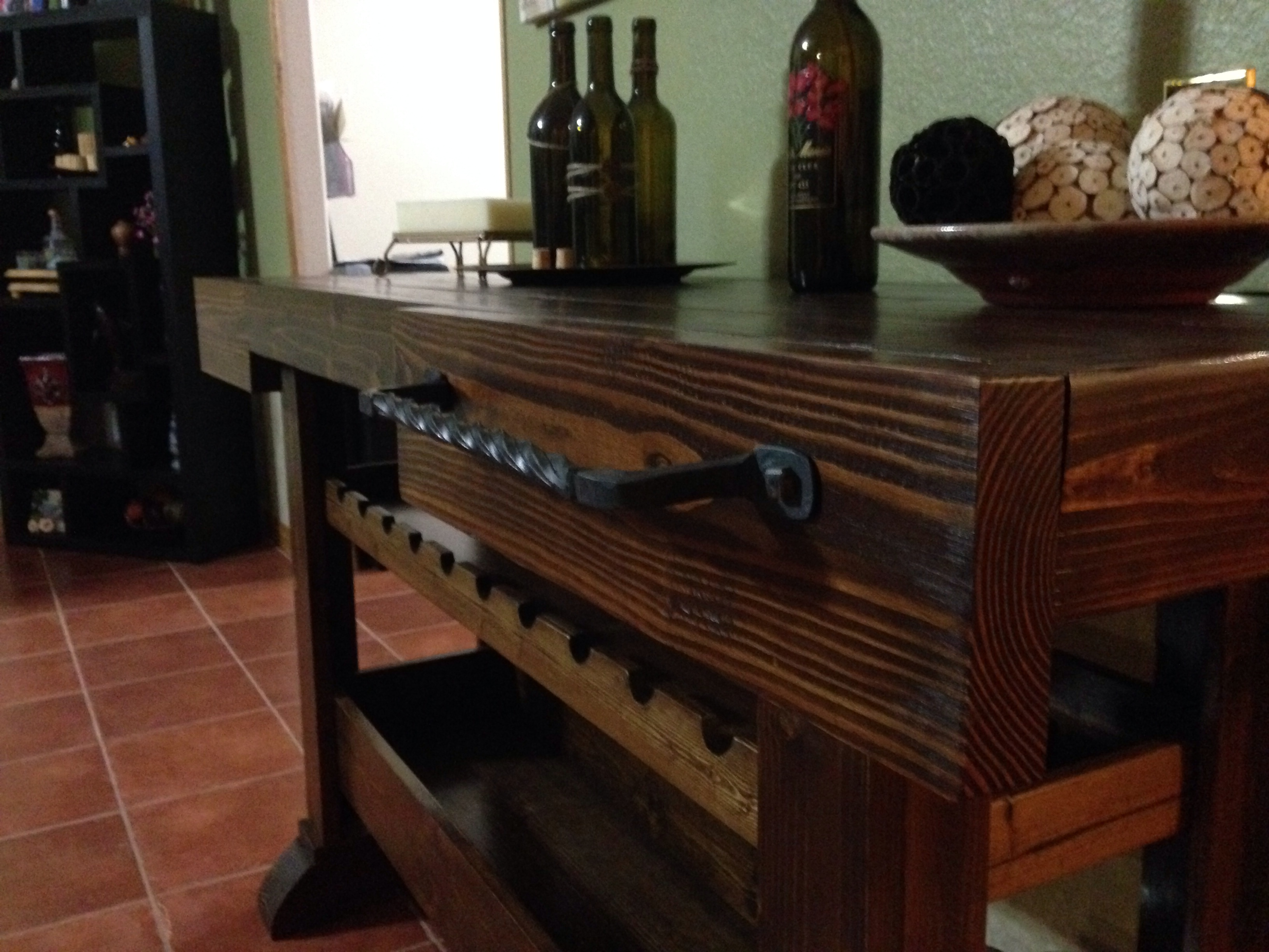 Ana white wine console table diy projects wine console table geotapseo Choice Image