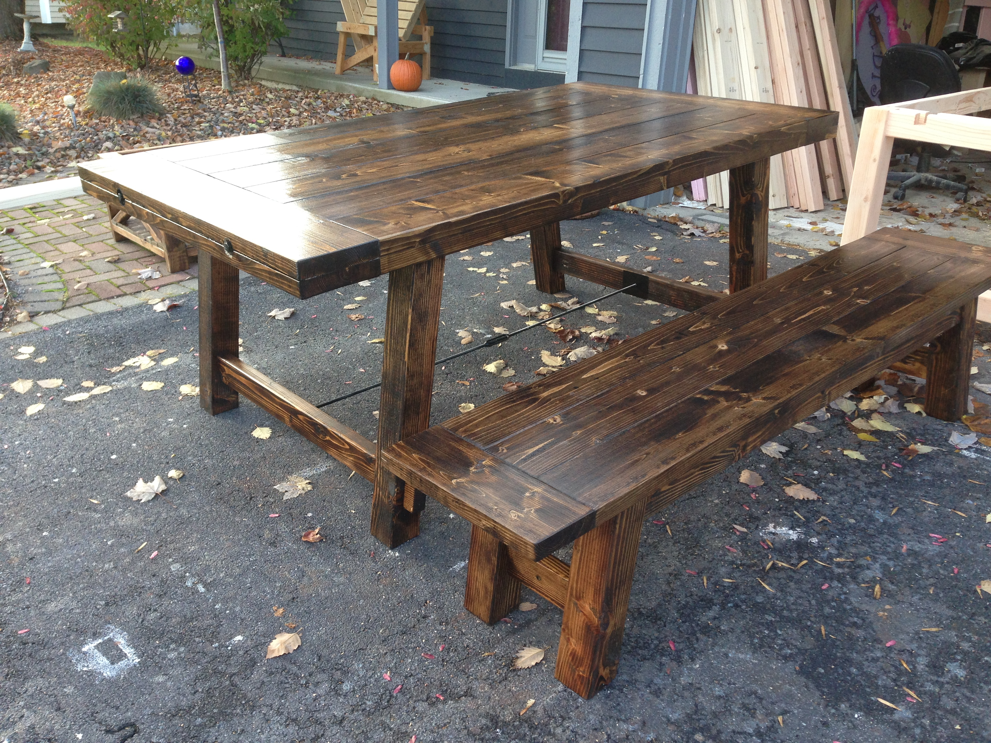 Ana white rustic benchright table and bench diy projects for Ana white table bench