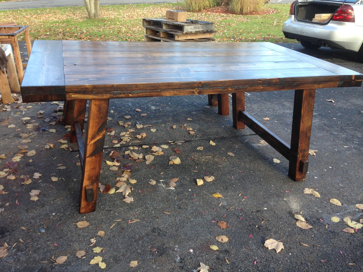 ana white rustic benchright table and bench diy projects