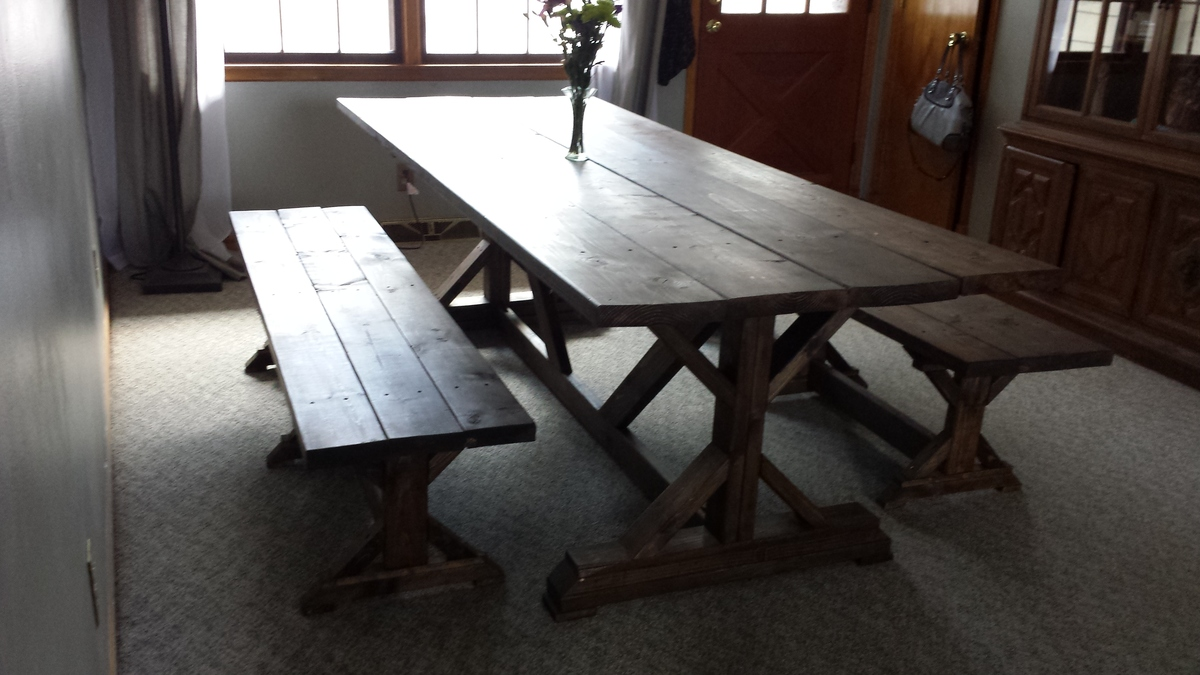 Ana white fancy x barn house table and benches diy for Ana white table bench
