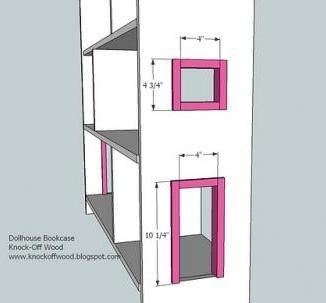 Ana white dollhouse bookcase diy projects for Window frame plan