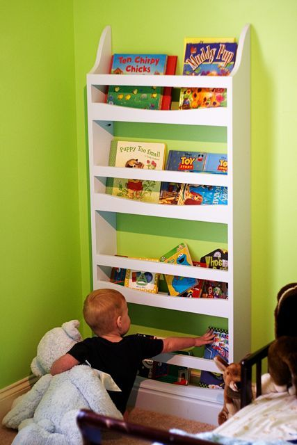 white front facing bookrack diy projects