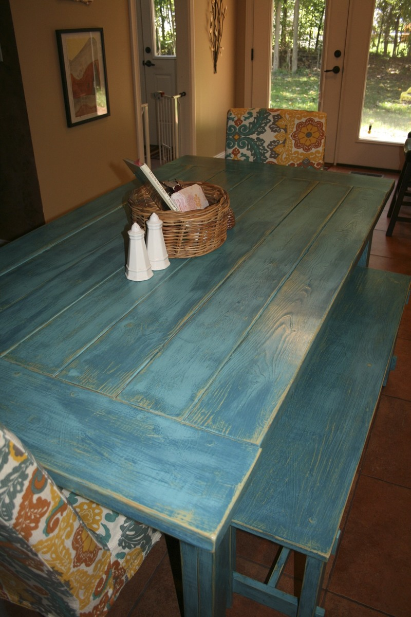 Ana White   Tuscan Turquoise Farm Table and Rustic Benches - DIY ...