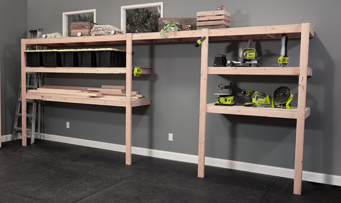Garage storage shelving for workbench - tools slide underneath. Free plans by Ana-White.com