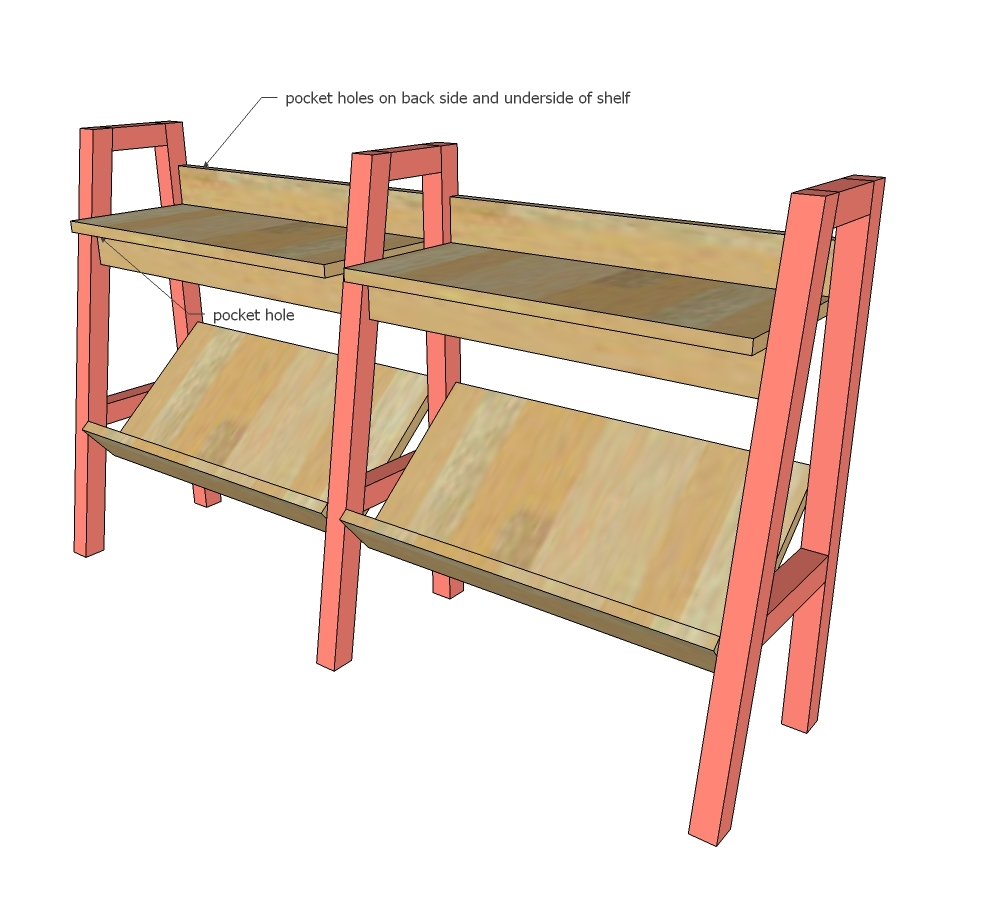 Mark Back Legs At A 45 Degree Angle And Attach Bottom Shelf Inside