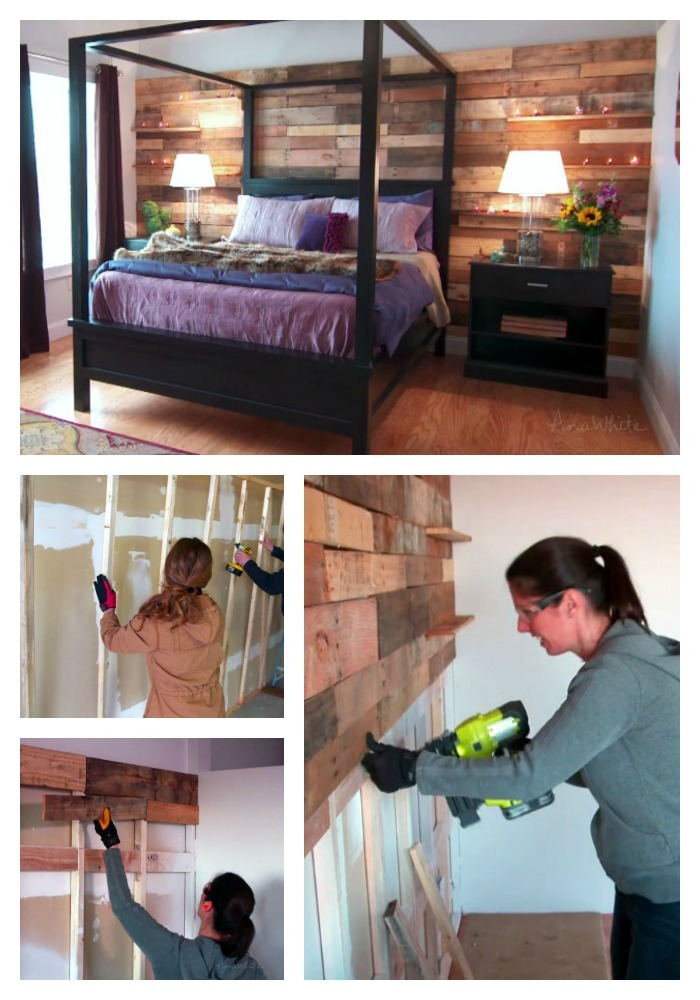 The Easy Way To Make A Beautiful Pallet Wall Did You Notice Little Shelves Too