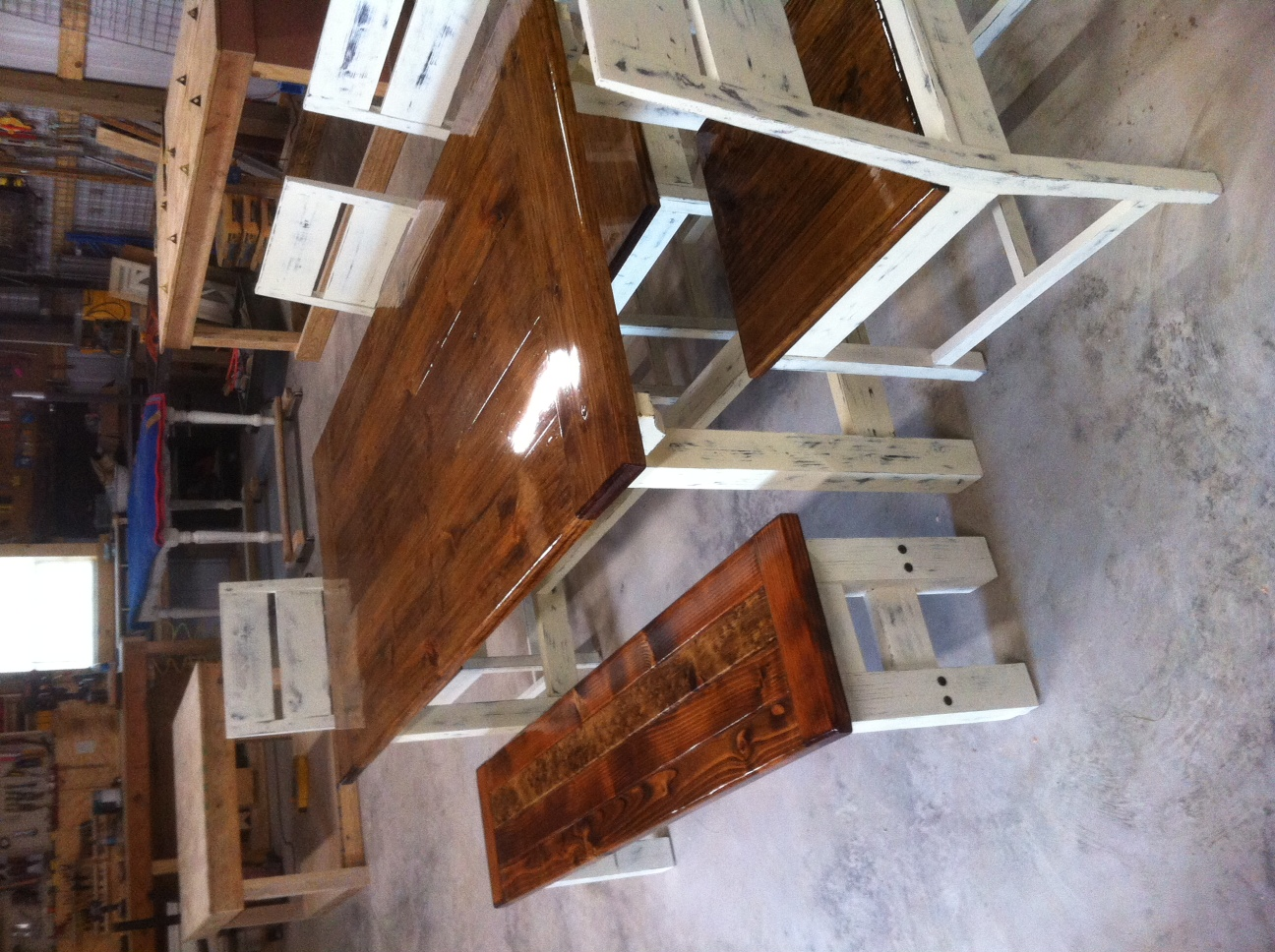 Ana white farm table bench and chairs diy projects for Ana white table bench