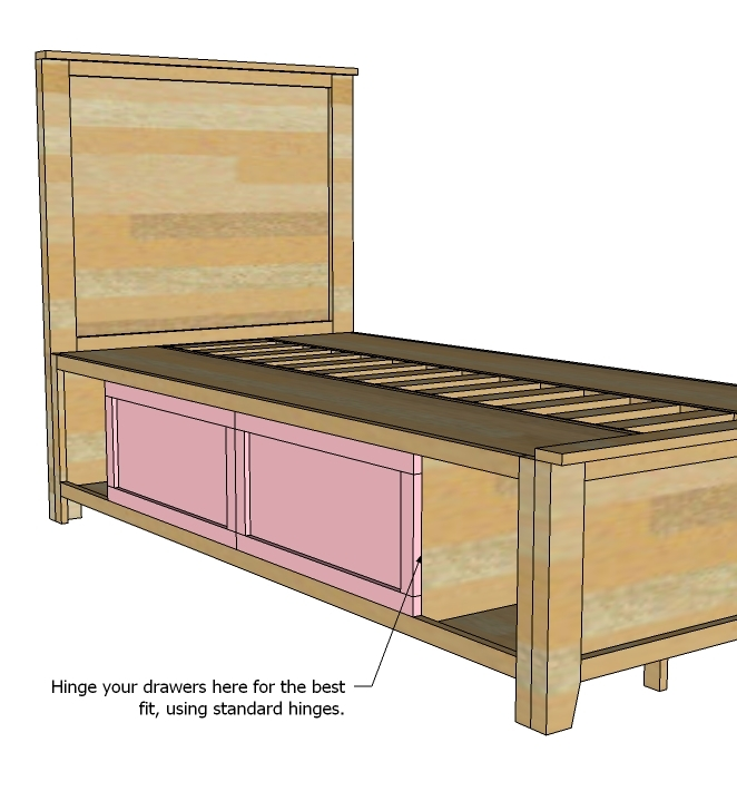 then i took a measurement important as your 1x12s could be a different width of the space in between and cut a pile of slats and screwed them down - Storage Bed