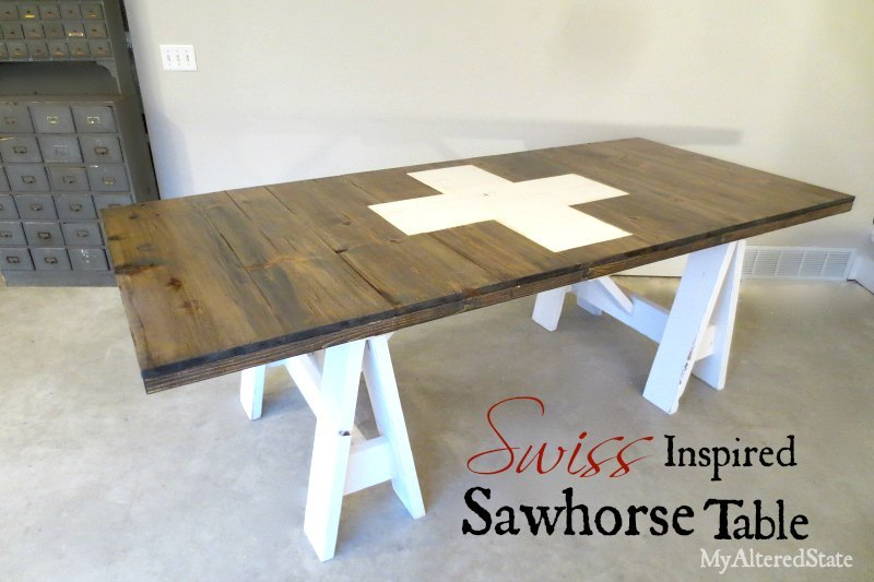 Ana White Swiss Inspired Sawhorse Table Diy Projects