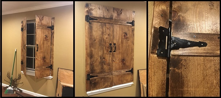 Ana White Diy Barn Door Style Shutters In The Man Cave Diy Projects
