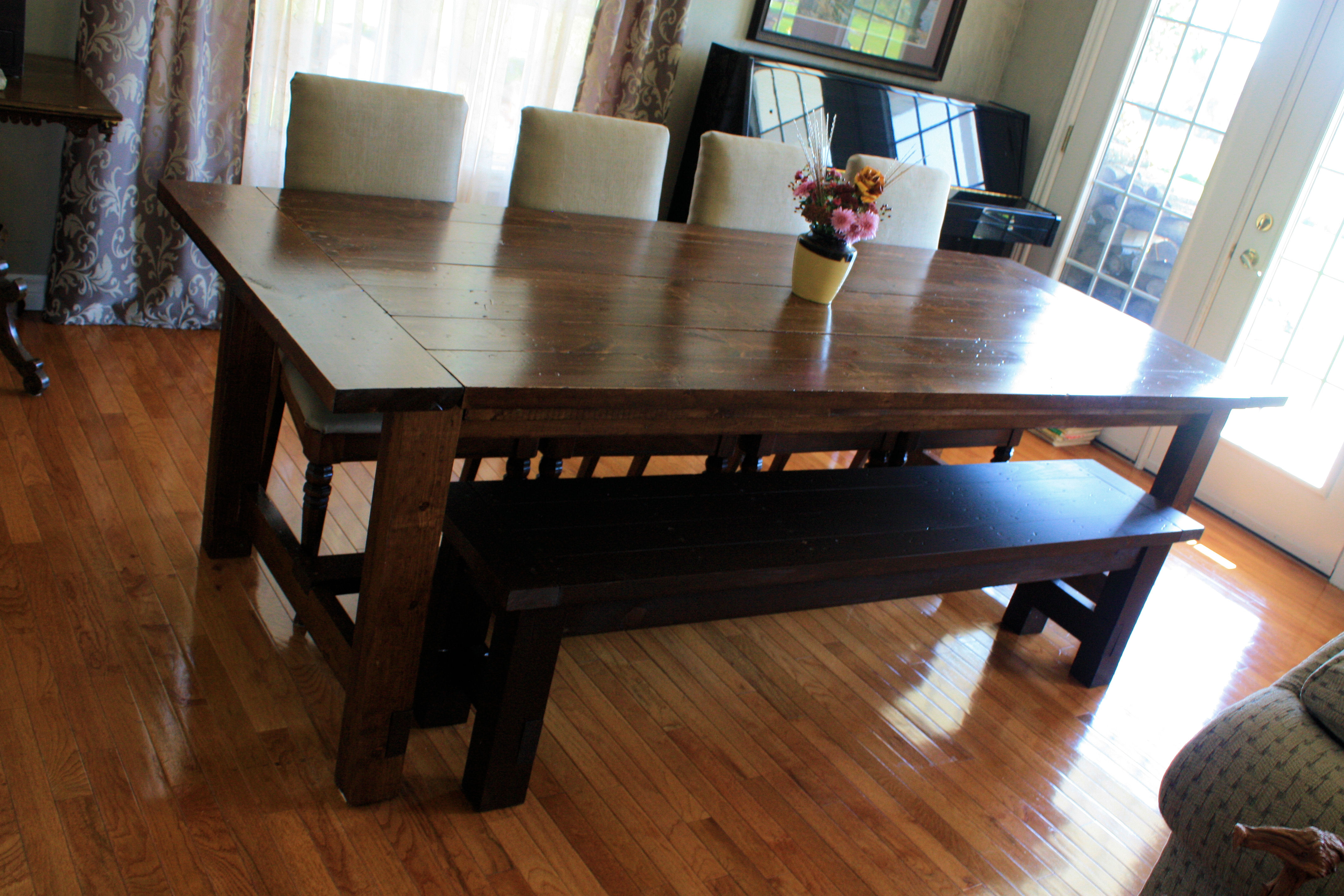 Miraculous Super Big Farmhouse Dining Table And Bench Ana White Creativecarmelina Interior Chair Design Creativecarmelinacom