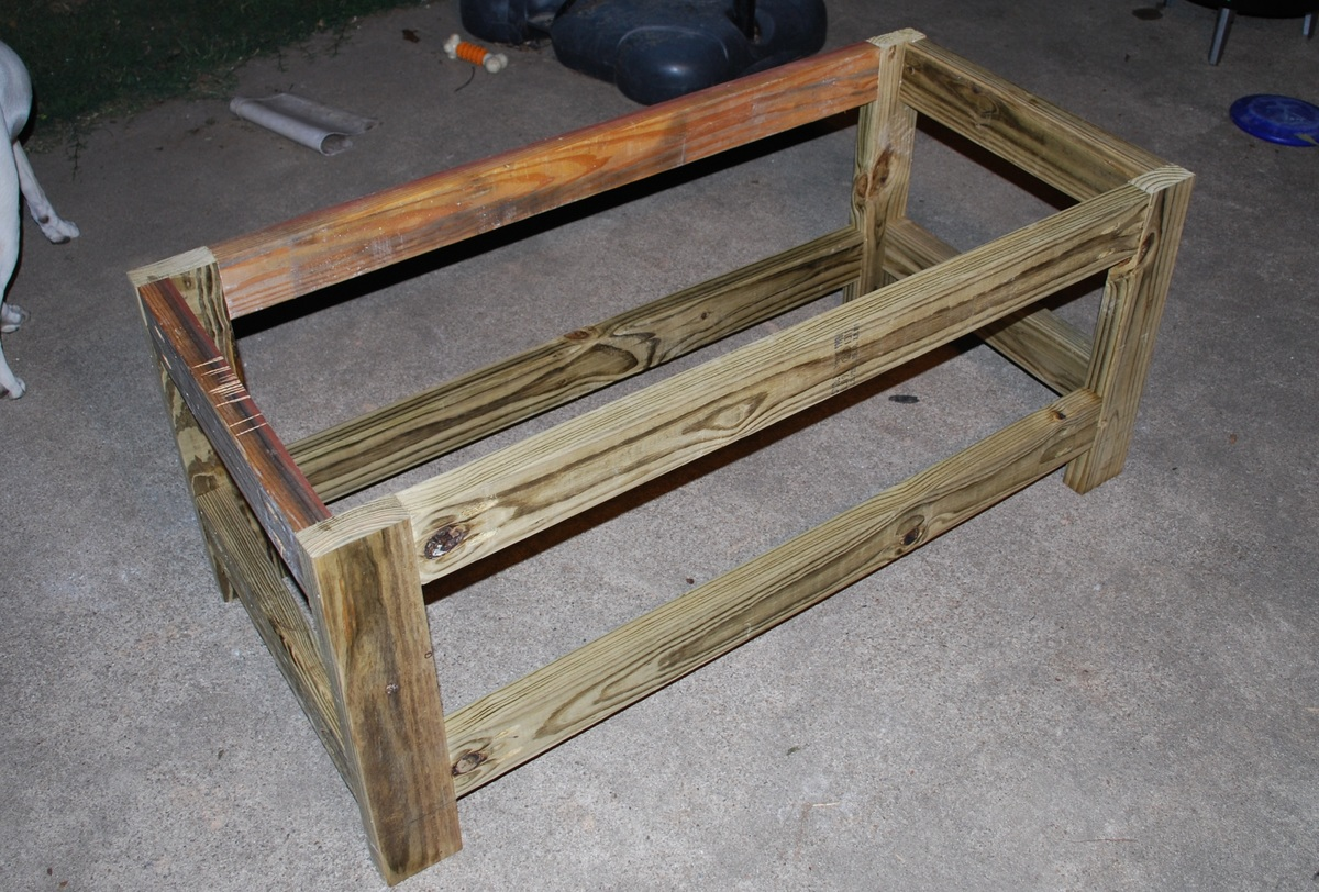Ana white beefed up outdoor storage bench diy projects Yard bench
