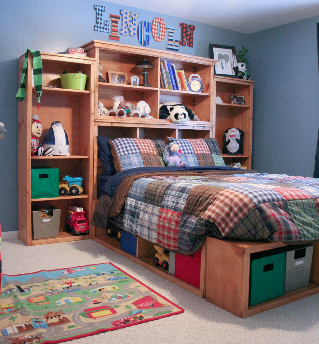 Bookcase Around Bed: Full Size Storage Bed - DIY Projects
