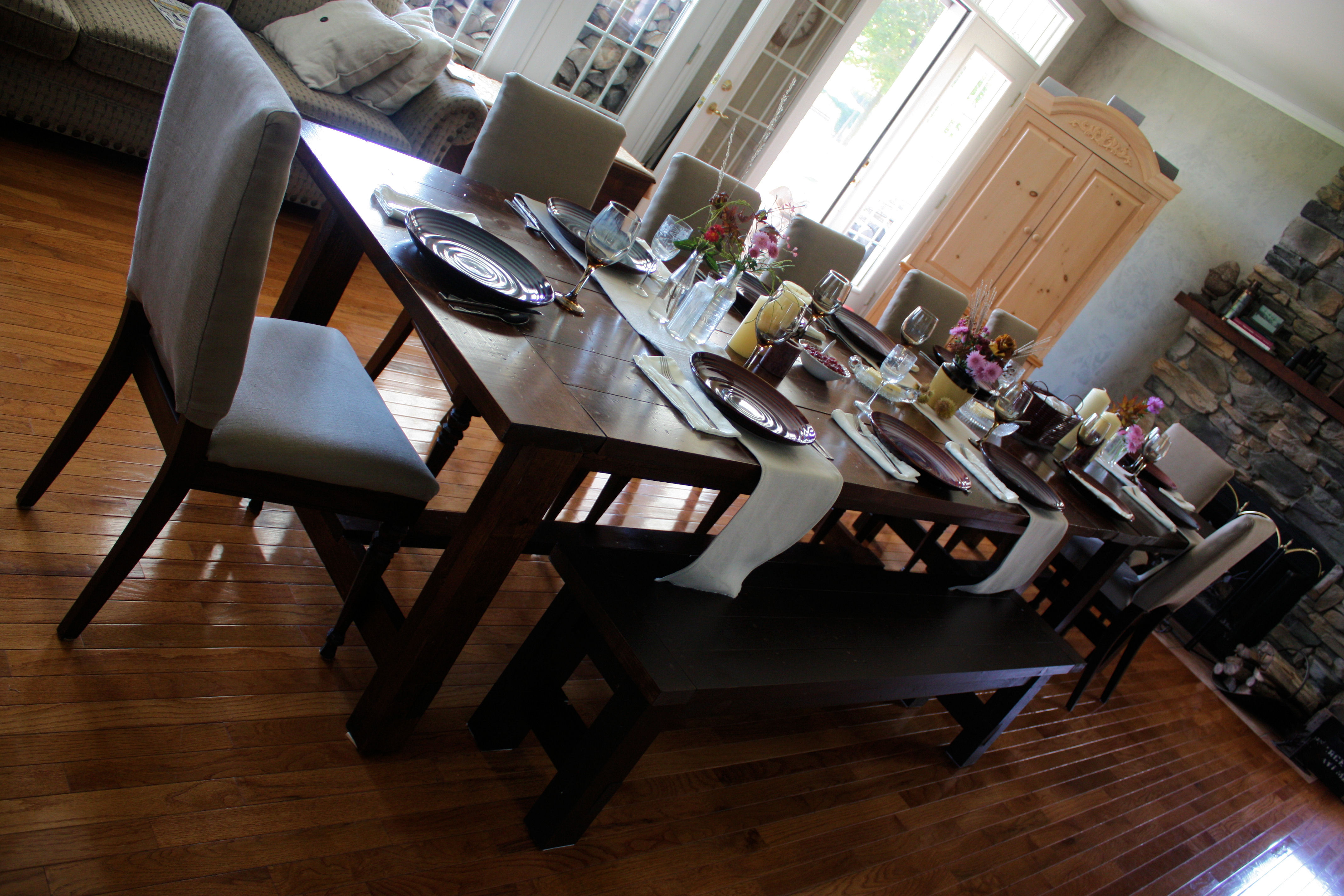 Brilliant Super Big Farmhouse Dining Table And Bench Ana White Theyellowbook Wood Chair Design Ideas Theyellowbookinfo