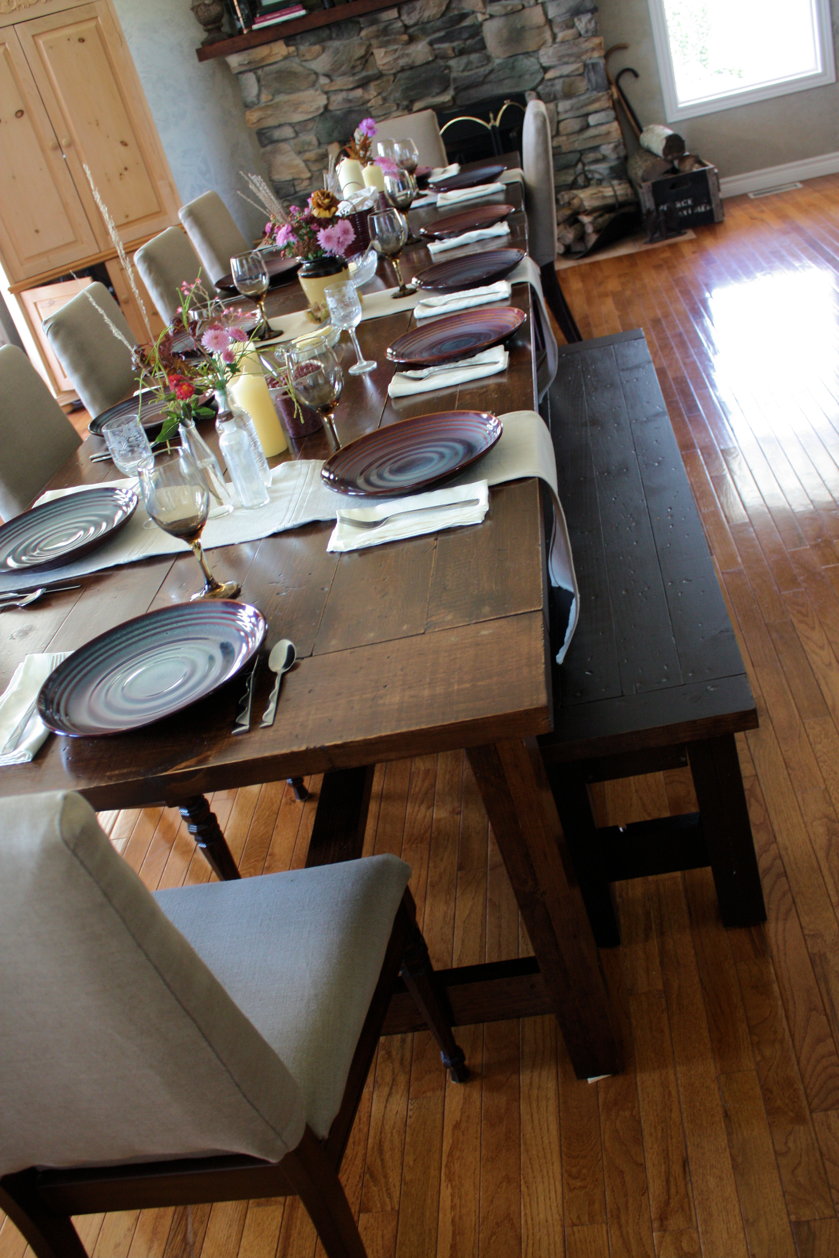 Amazing Super Big Farmhouse Dining Table And Bench Ana White Ibusinesslaw Wood Chair Design Ideas Ibusinesslaworg