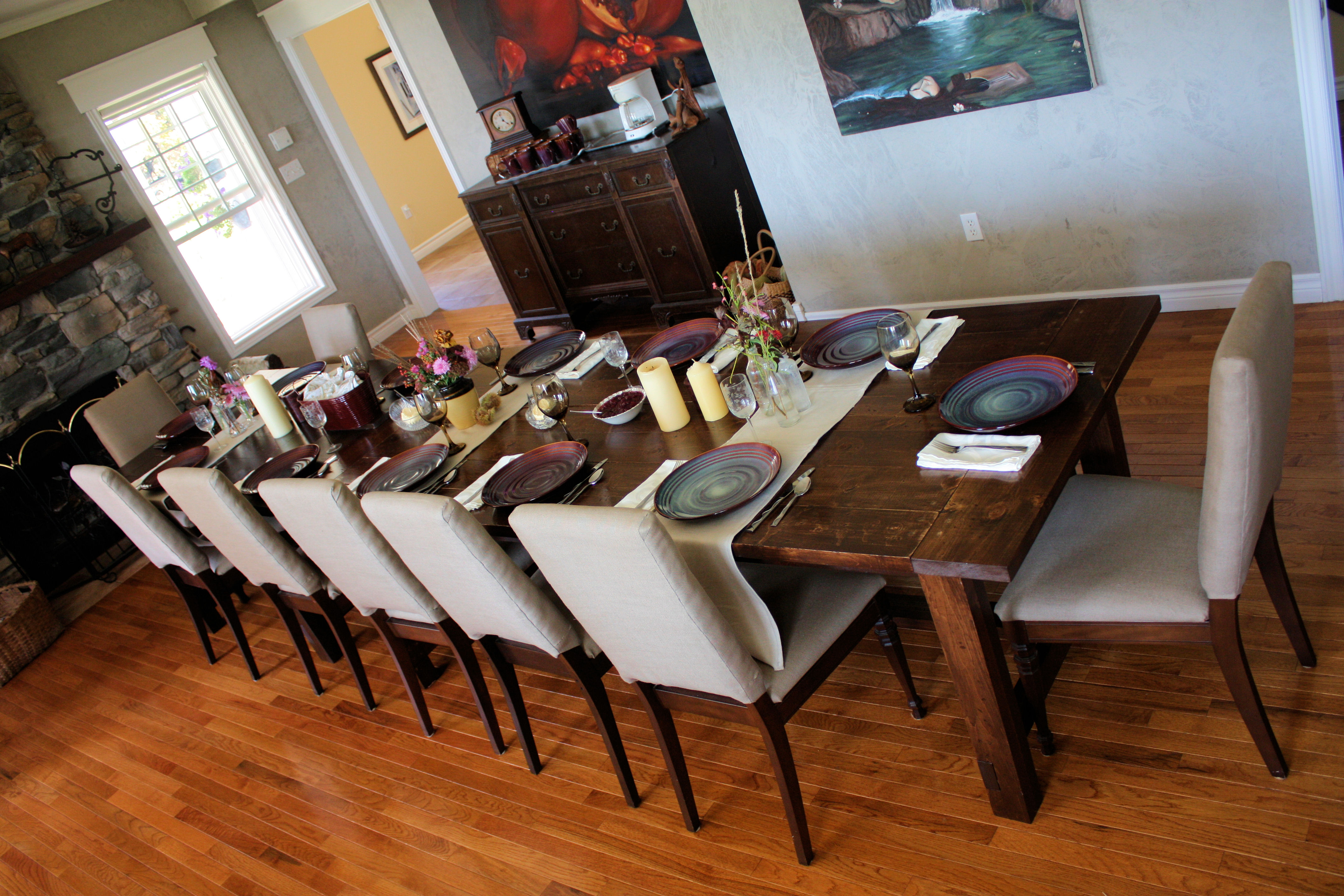 Big Farmhouse Dining Table And Bench, Extra Long Dining Room Table Bench