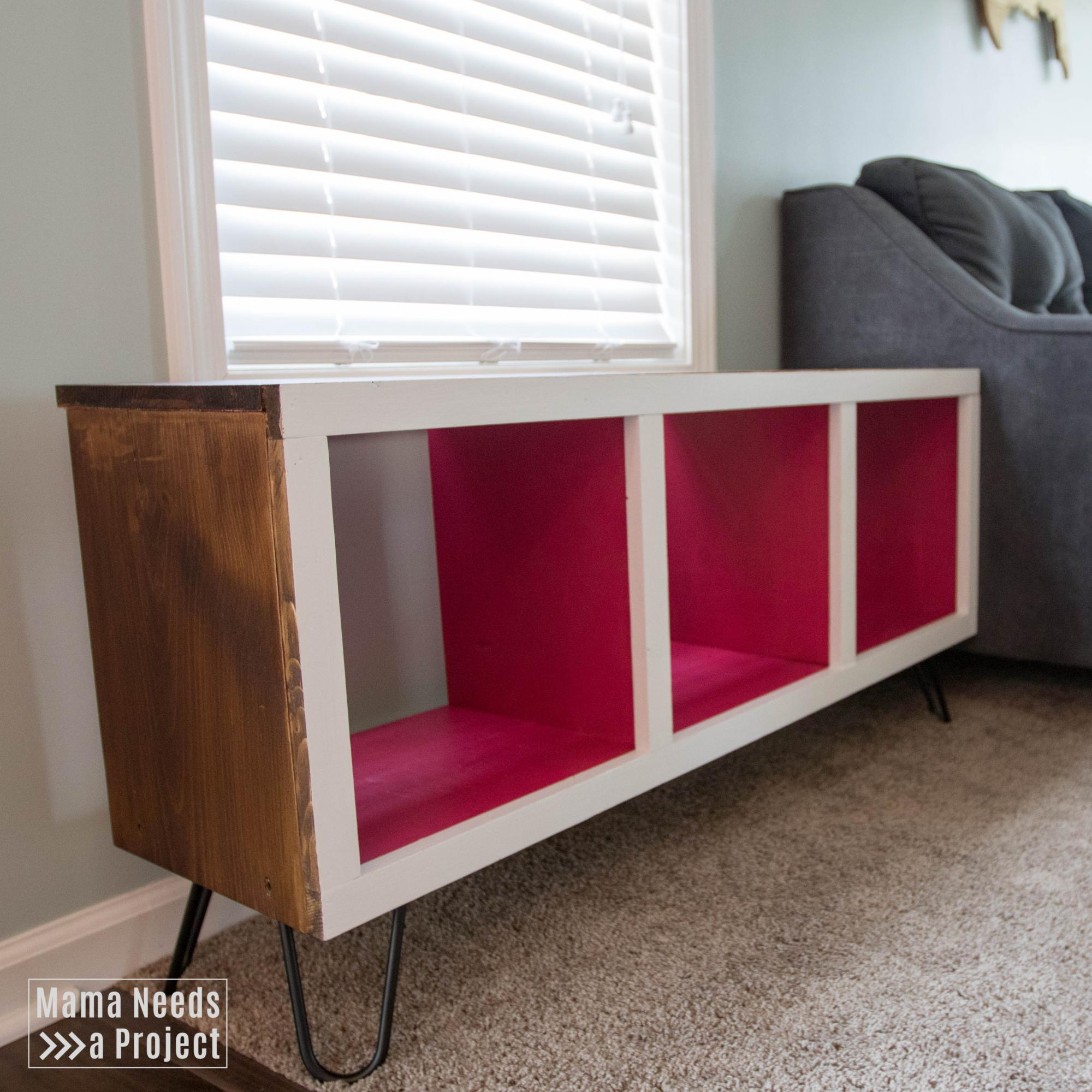 Modern Cubby Shelf With Hairpin Legs Ana White