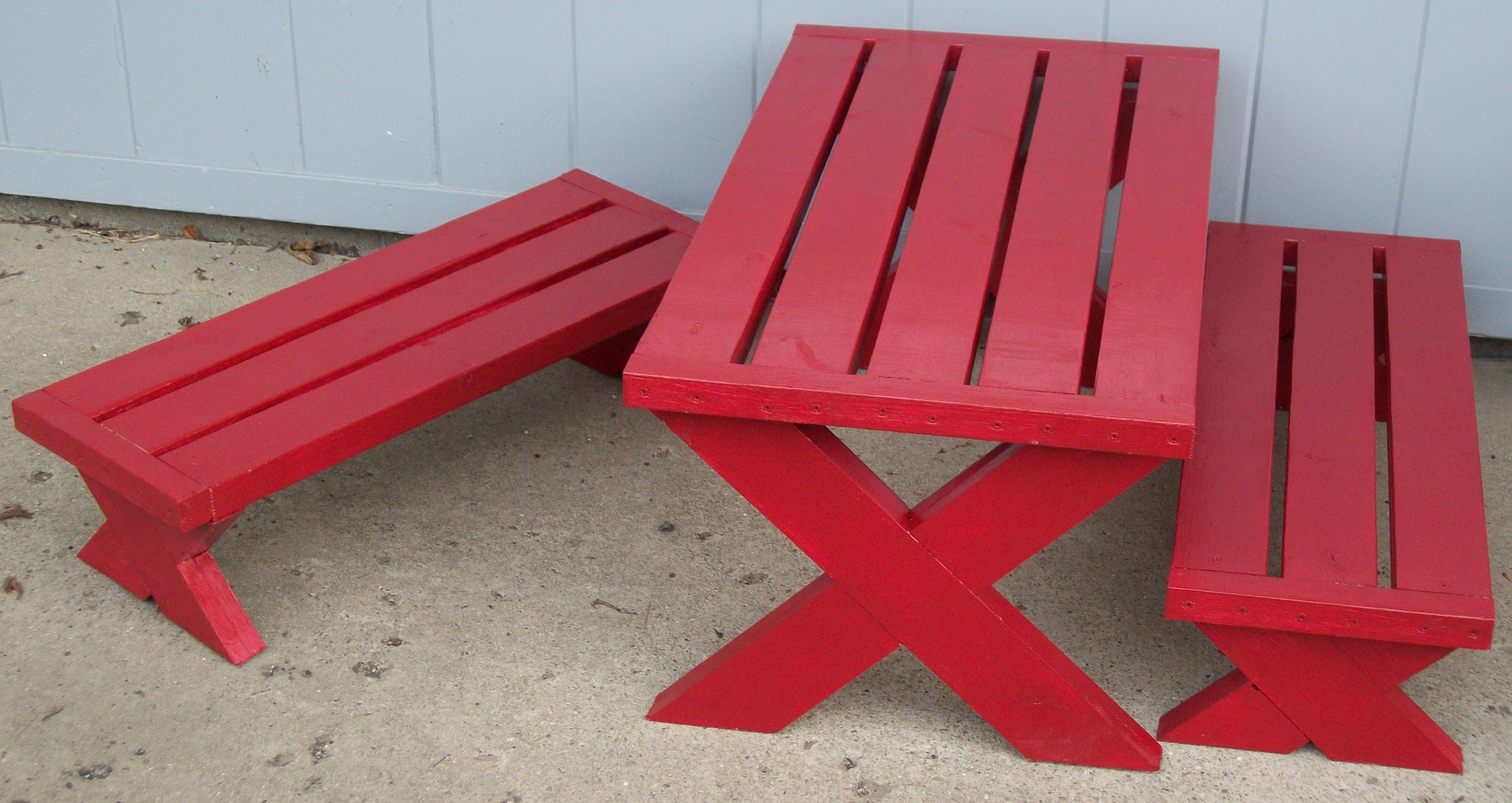 Build A Modern Childs Picnic Table Or X Benches