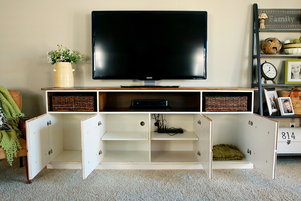 Ana white apothecary media console diy projects White media console