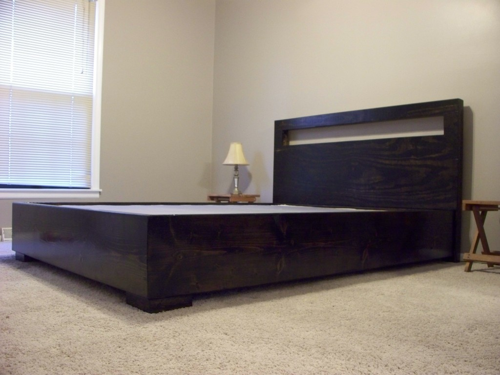 modern platform bed with cutout