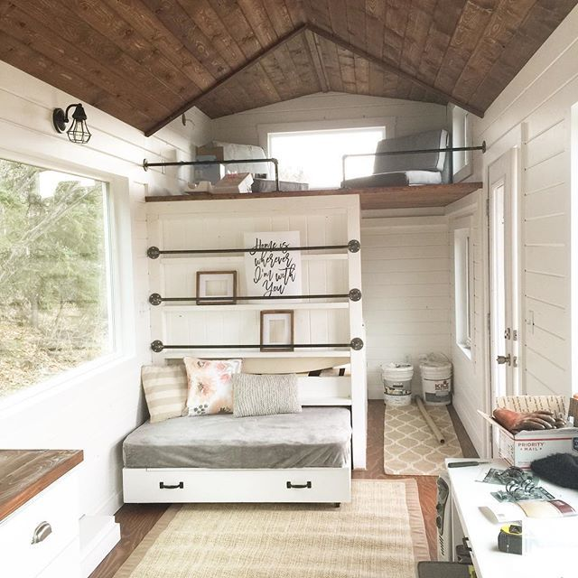 Ana white tiny house loft with bedroom guest bed for Bunk house plans