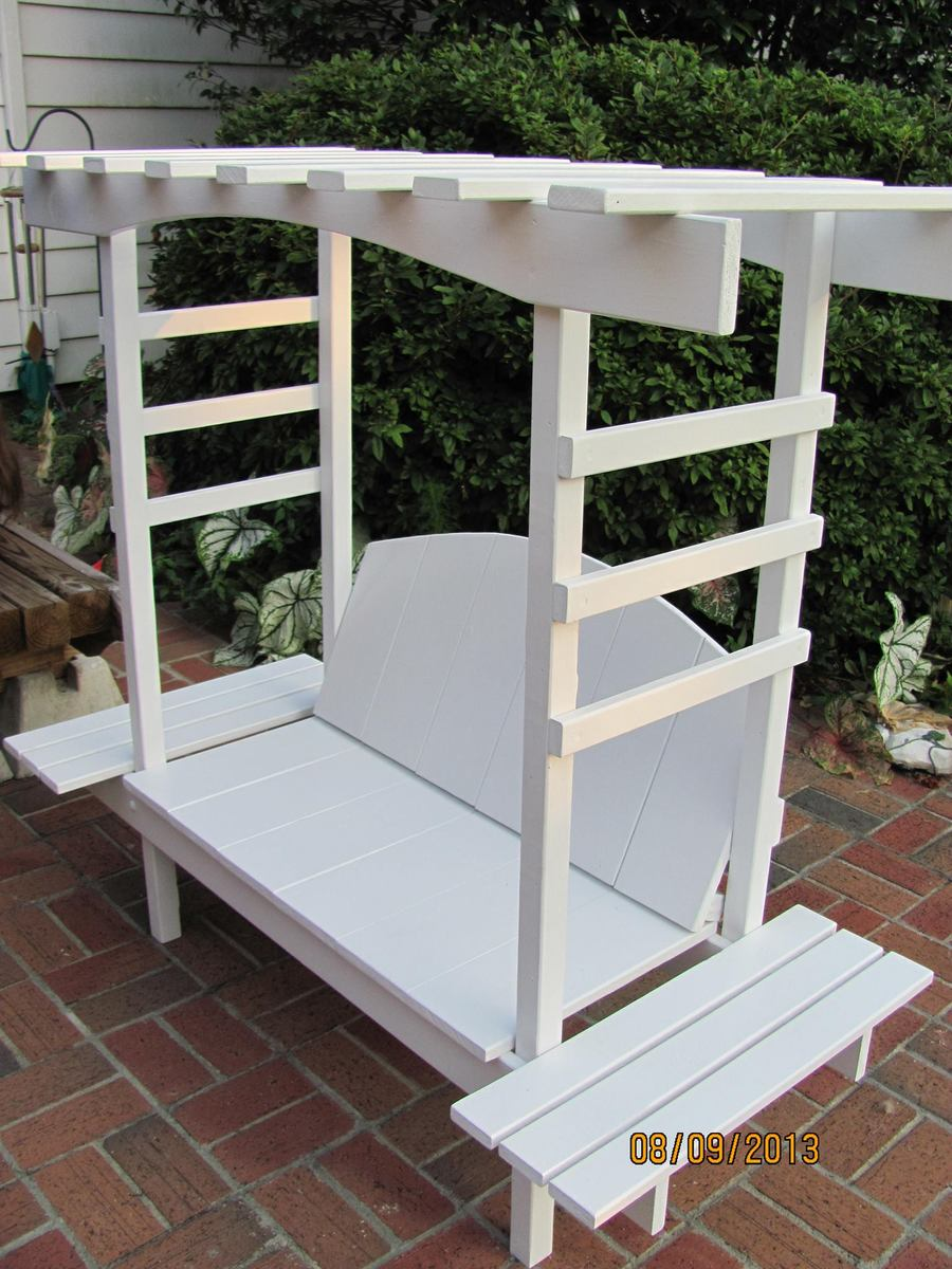 Do It Yourself Home Design: Child's Bench With Arbor - DIY Projects