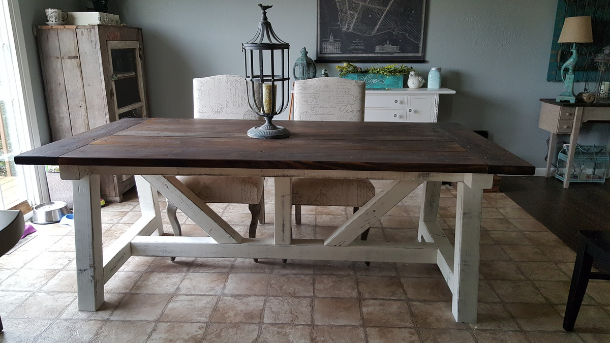 Ana white 4x6 truss beam farm table diy projects for Farmhouse table plans with x legs