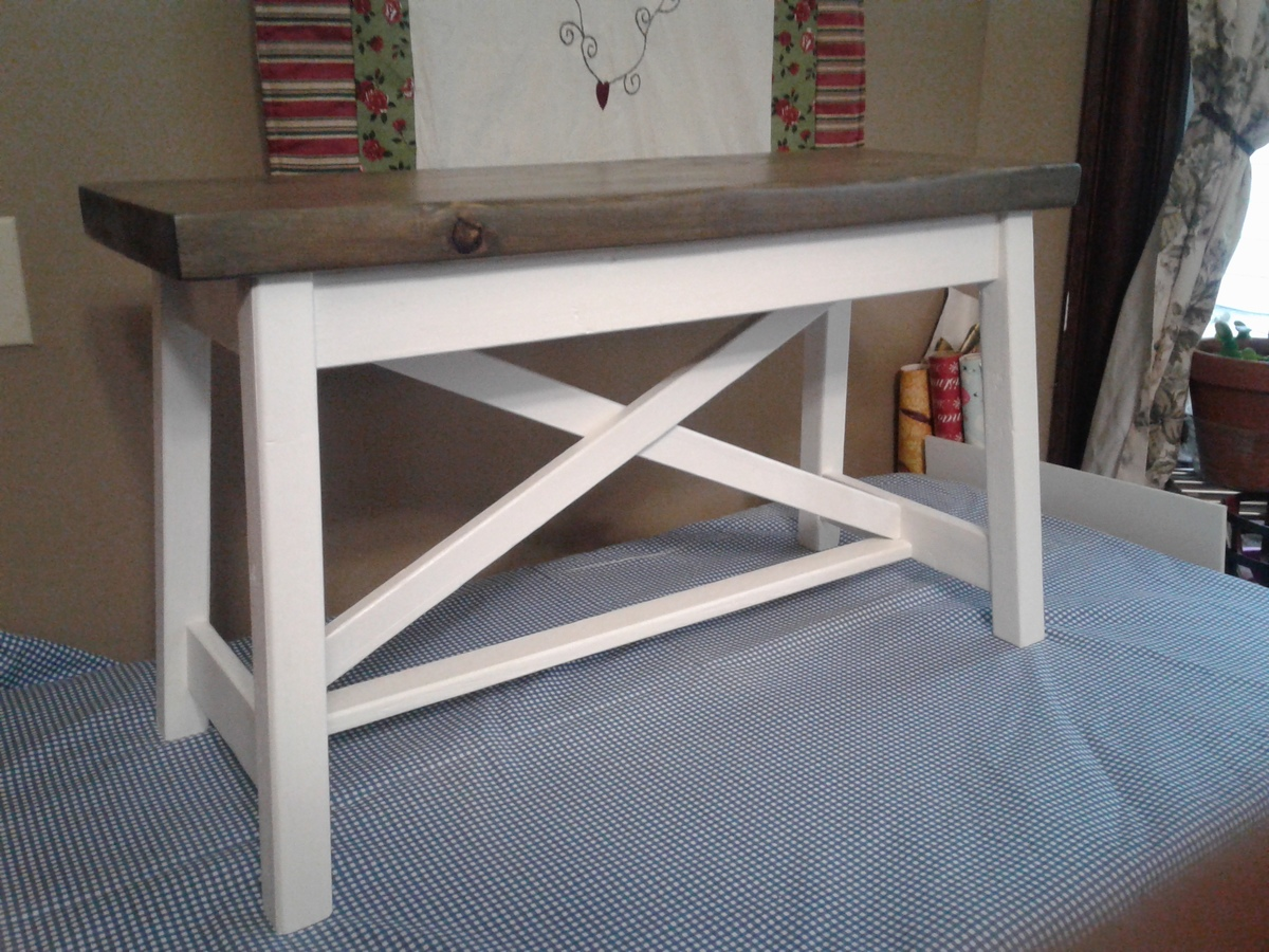 White My Version Of The Small Rustic X Bench Diy
