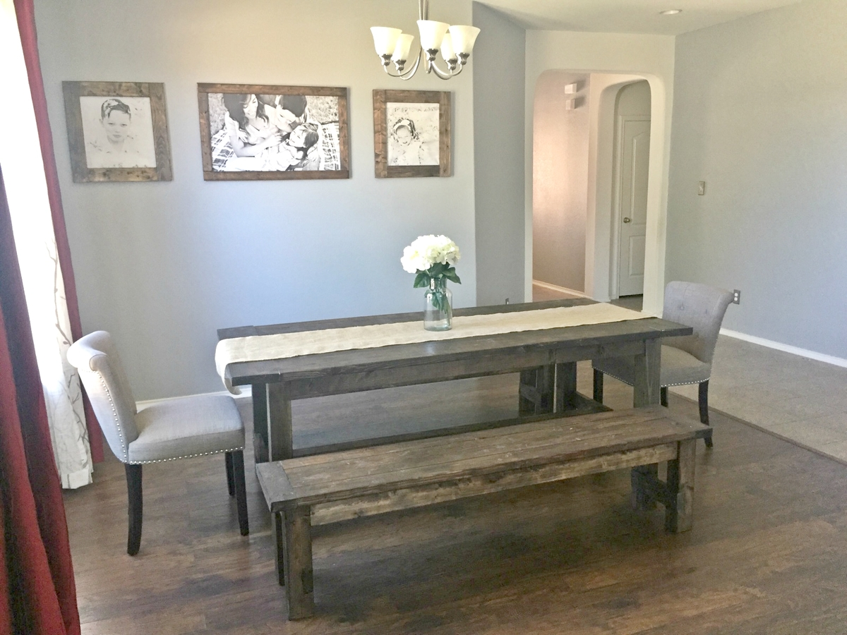 dining room bench table | Ana White | Farmhouse Dining Room Table with Benches ...