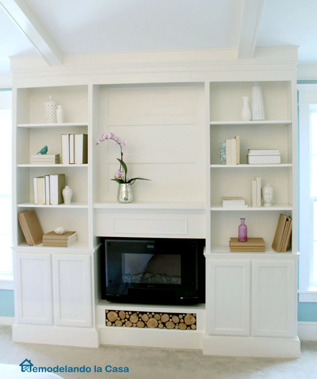 Bookcase Built Ins With Fireplace Insert Featuring