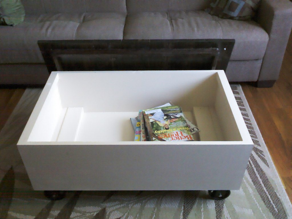 ana white | coffee table with storage, based on the factory cart