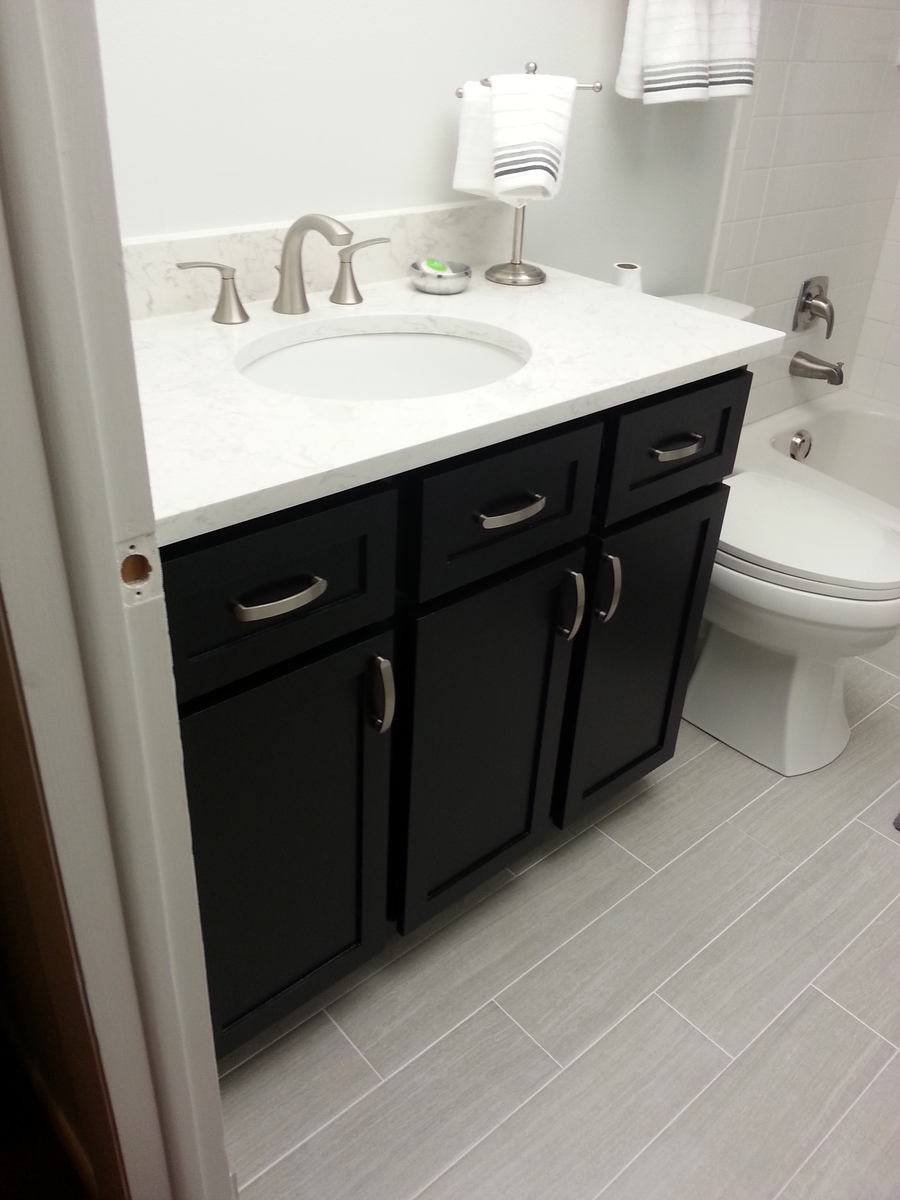 Ana white guest bath remodel diy projects - How to redo bathroom cabinets for cheap ...