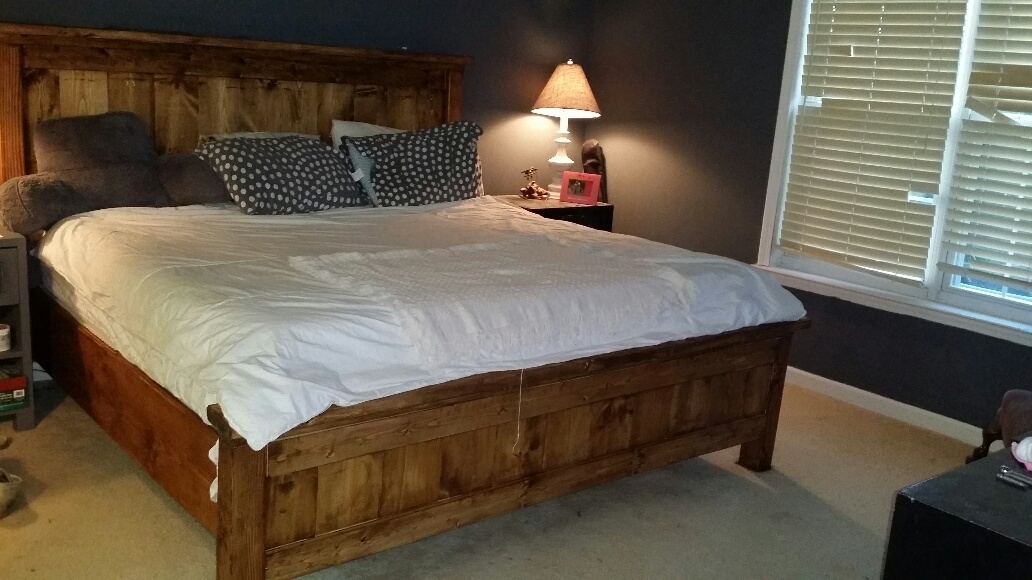 ana white farmhouse king bed resized  fit standard king diy projects