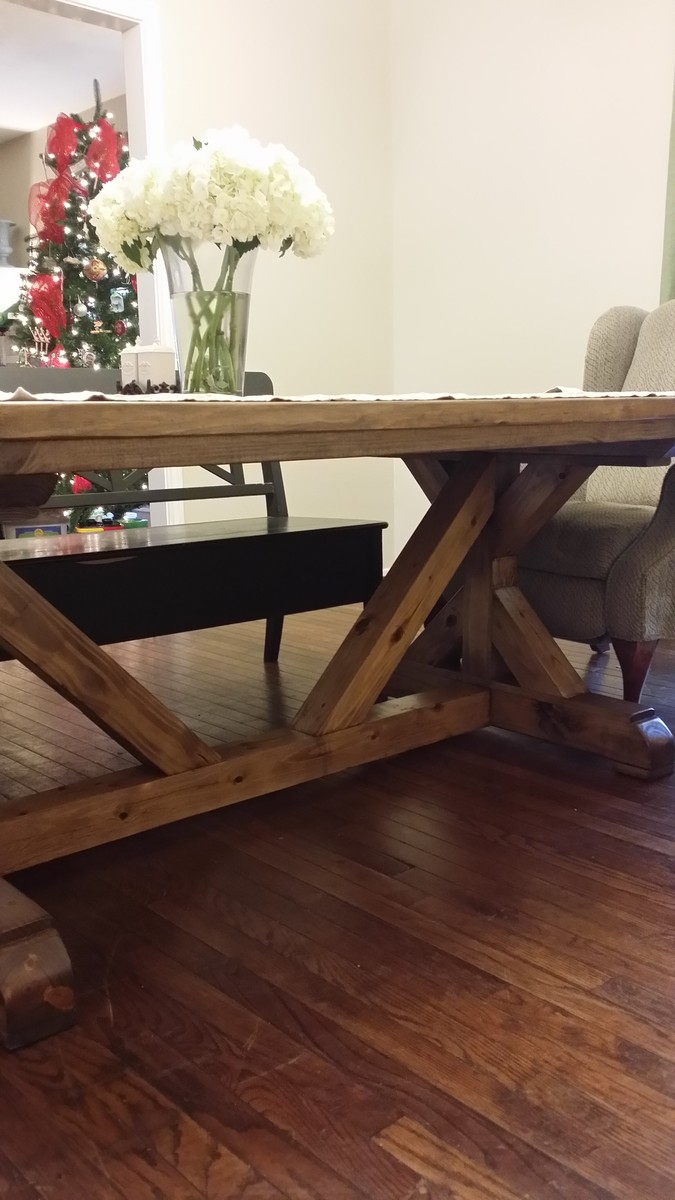 Beau Fancy X Farmhouse Table With 4x4 Base