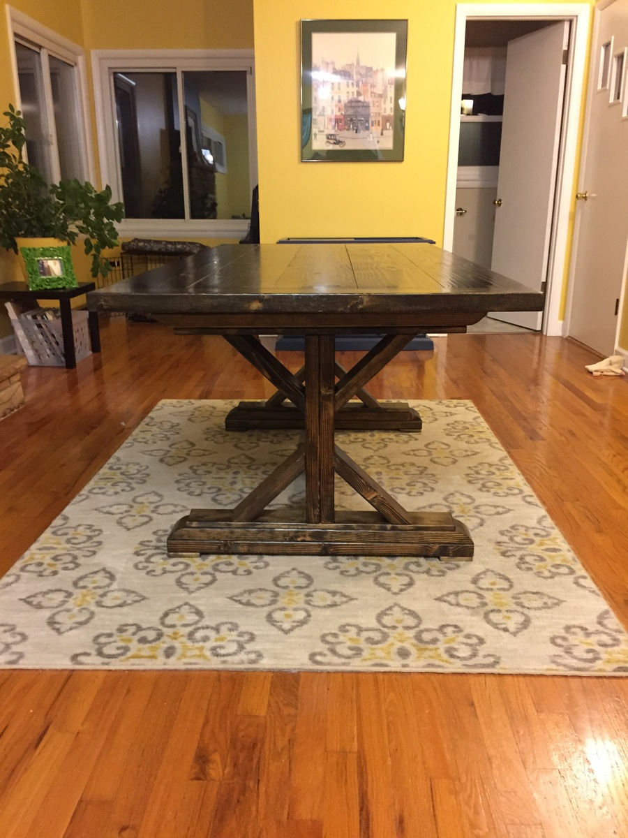 Ana white modified fancy x farmhouse table diy projects for Fancy farmhouse