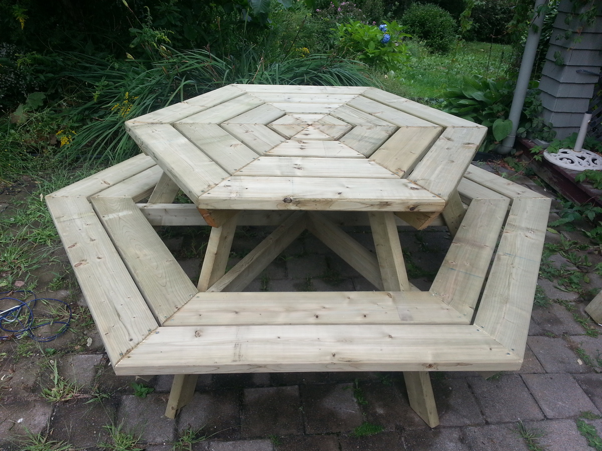 Ana white hexagon picnic table diy projects hexagon picnic table watchthetrailerfo