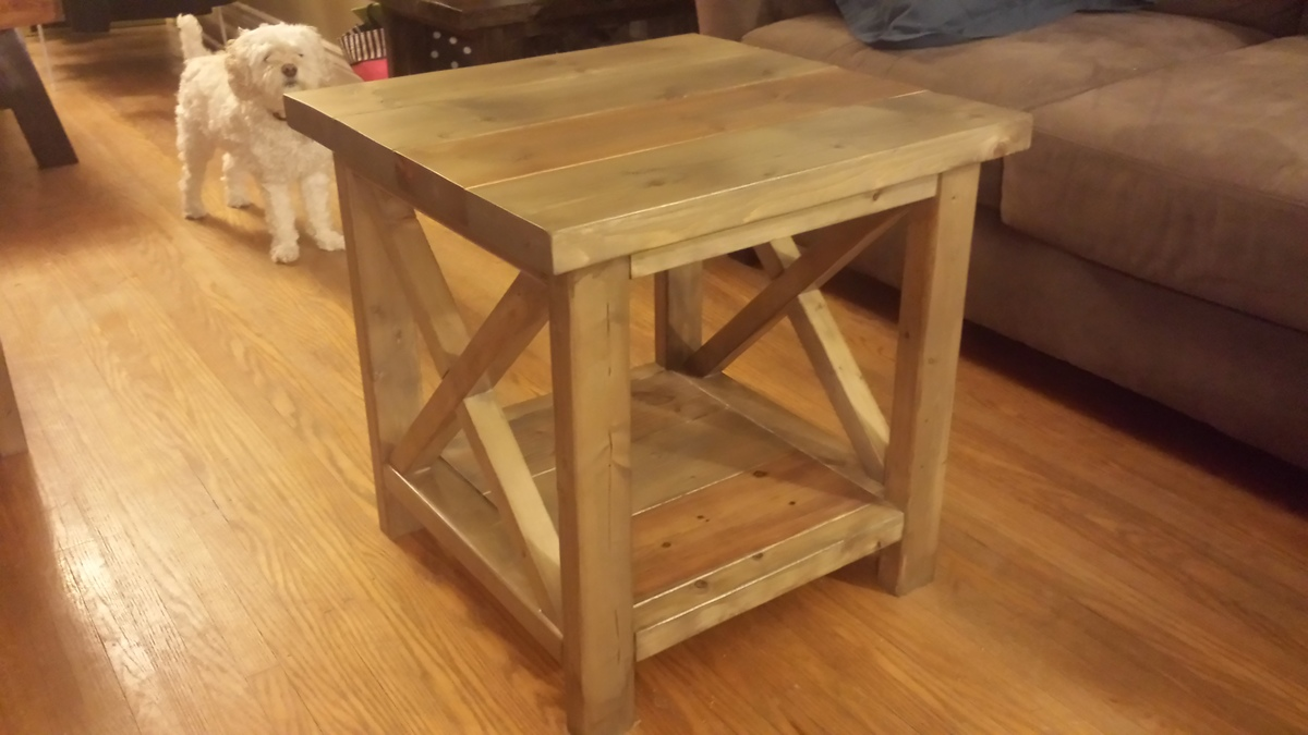 Ana white rustic x side table diy projects for Diy rustic end tables