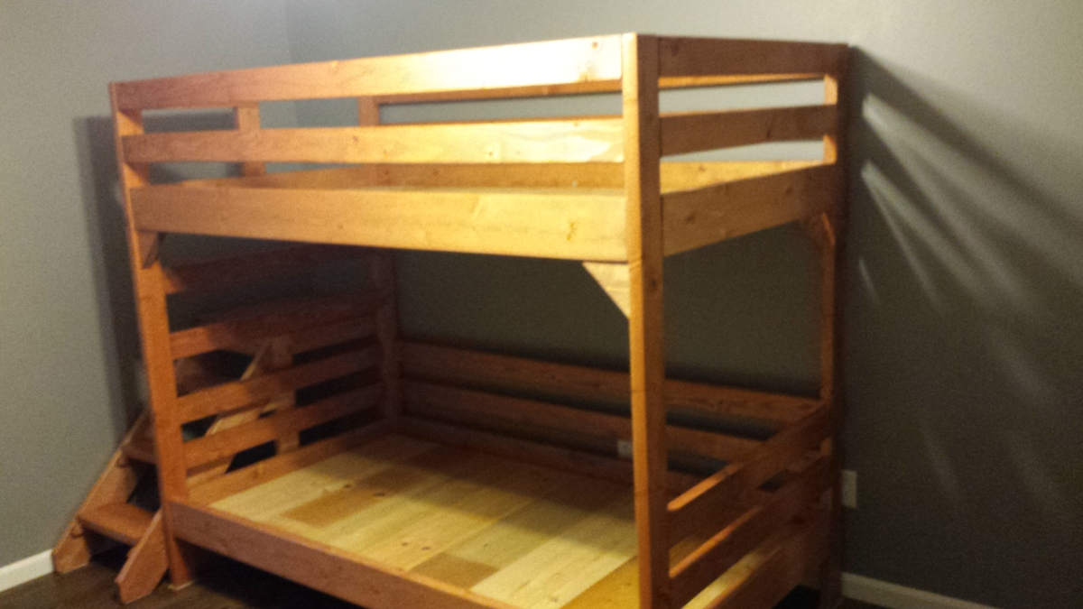 Ana White | Modified Camp Loft Bed with Stairs into Bunk ...