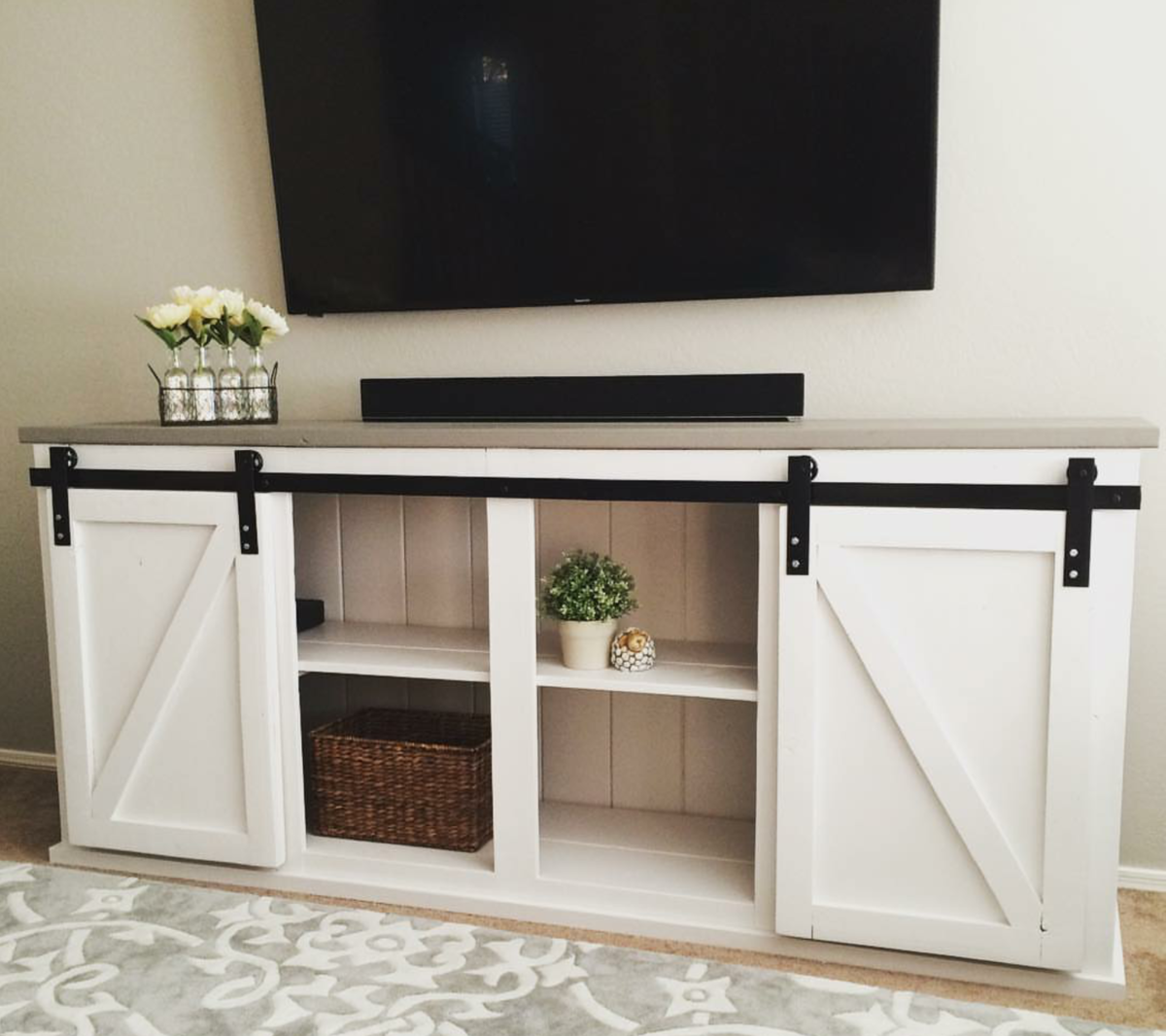 White Farmhouse Sliding Door Cabinet: Sliding Door Console - DIY Projects
