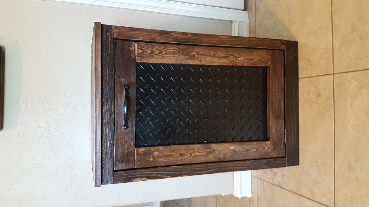 Trash Cabinet With Diamond Plate