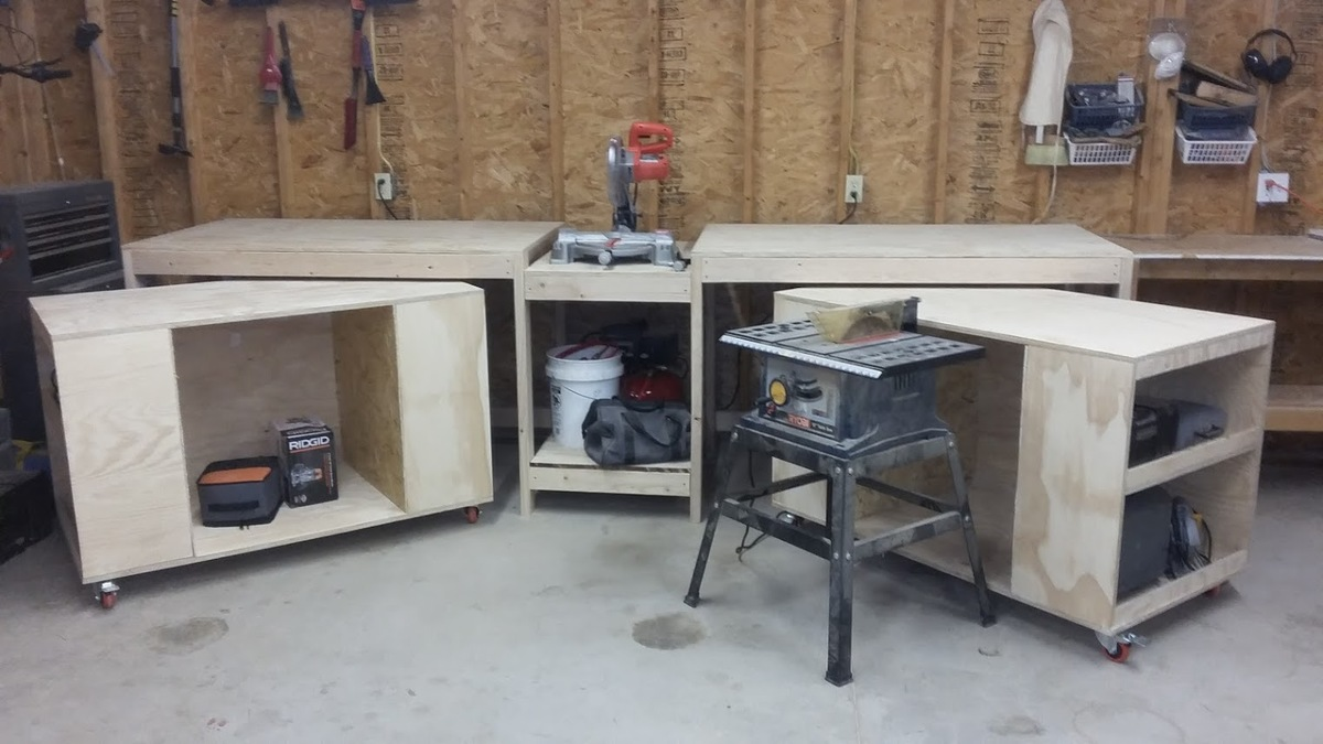 Miter saw stand with rolling tool storage carts | Ana White