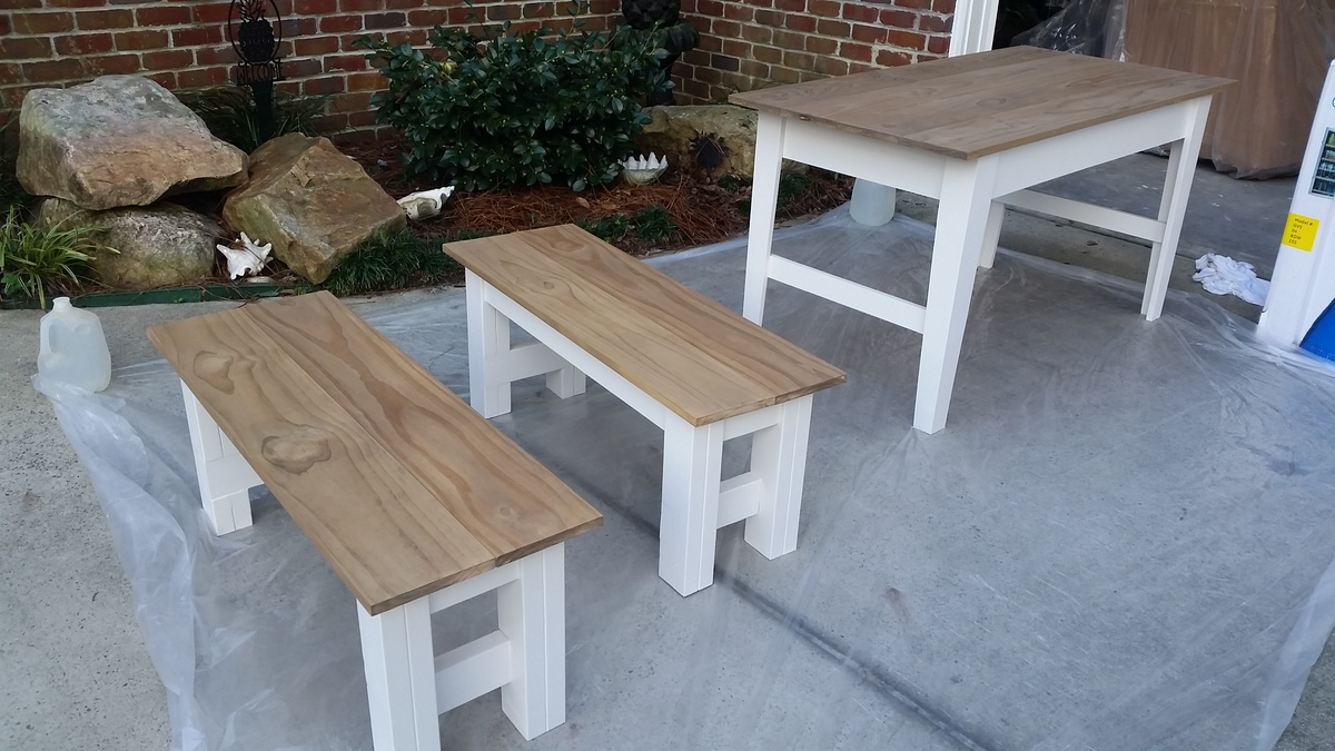 Ana White | Narrow farmhouse table with benches - DIY Projects