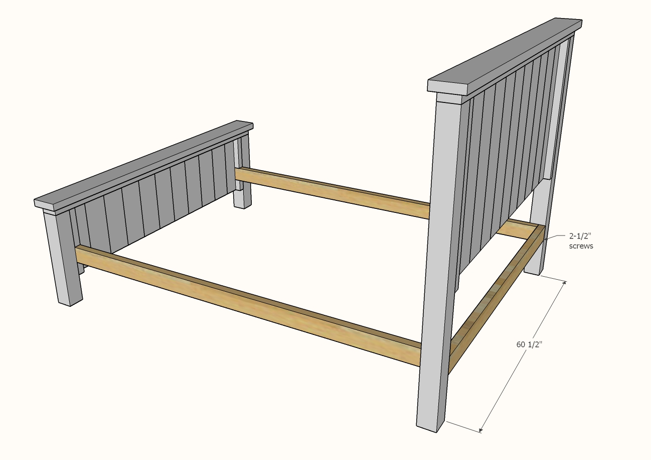 diagram showing bed frame assembly